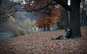 brunette, view, forest, nature, Trees, leaves, autumn, foliage, sorrow