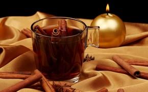 чай, корица, чашка, стеклянная, свеча, ткань, золотая