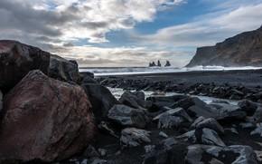 海, 石, 風景
