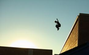 Sport, Parkour, guy, Roof, city, sky, sun