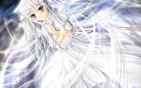 动漫, 相关的空气, 孤独的两个, 春日乱抛垃圾, 长长的头发, 银白色的头发, 白发, 穿着, 白, 抽象化, 水
