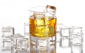 whiskey, goblet, drops, ice, cubes, white background