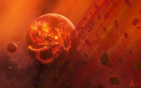 Arte, spazio, pianeta, pietre, Meteoriti, lava, calore