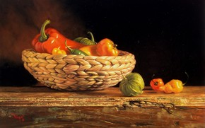 picture, picture, Reproduction, still life, table, basket, vegetables