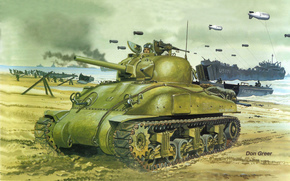 Sherman, main American medium tank, during the Second World War, Norman operation, or surgery, Overlord, Troops, Allies, after, landing, arrival, reinforcements, at the bridgehead.