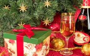 New Year, gift, Tree, Champagne, goblet, New Year