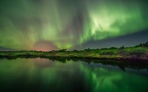river, night, radiance, landscape