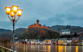 Germany, home, river, sky, Castles, (Fortress), cochema burg cochem, clouds, lights