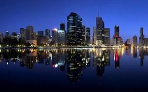Australia, citt di notte, cielo, Queensland, Brisbane, notte
