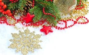снежинка, золотая, шар, шарик, звезды, ветка, шишки, падуб, остролист, ель, елка, бусы, игрушки, елочные, Новый Год, праздник, Рождество, Новый год
