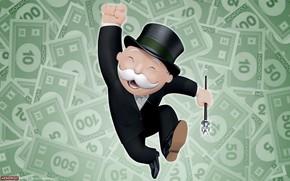 Monopolio, juego, fondo, dlar, dinero