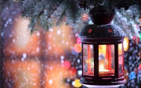 vela, candelero, flash, rama, nieve, invierno, Los copos de nieve, rbol