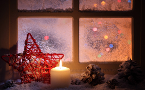 candle, star, red, window, sill, Cones, snow, Winter, evening