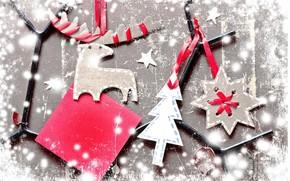 Vintage, figures, cardboard, paper, odd job, Deer, star, snowflake, Tree, Ribbons