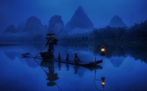 China, Morning, fisherman, boat, lantern, light, Cormorants, river, water, forest, reflection, Blue Background