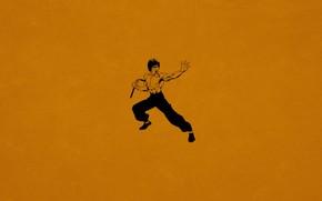 Bruce Lee, Kung Fu, nunchuck, naranja oscuro, Minimalismo