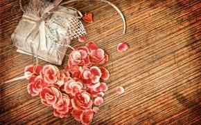 винтаж, сердце, лепестки, коробка, подарок