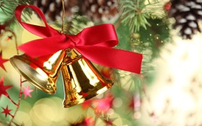 Bells, tape, Tree, bump, Christmas decorations, New Year