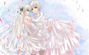 anime, ar relacionado, solido a dois, cabelos longos, cabelos grisalhos, cara, menina, Noivo, noiva, na mo, vestir, casamento, vu
