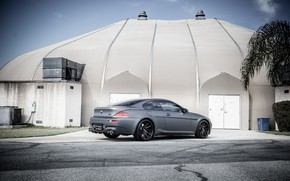 BMW, gray, mat, back view, building, roof, dome, bmw