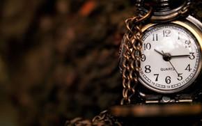 часы, стрелки, цифры, макро, цепочка, циферблат