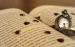 часы, сердечки, сердце, макро, страница, текст, стрелки, циферблат