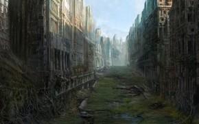Art, city, ruins, abandonment, postapokaliptika