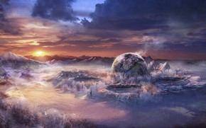 Art, landscape, fantasy world, Mountains, snow, sunset, craters, planet, ball