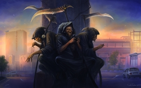 Art, Monsters, hood, cloak, death, braid, three, Sitting, headphones, game, column, city