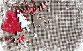 jobbing, figures, board, paper, Deer, snowflake, Tree, Ribbons, Vintage