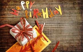 поздравление, День рождения, подарок, открытка, винтаж
