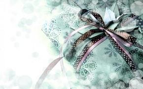 gift, Tape, bow, box, Crane, origami, paper, bokeh, Vintage