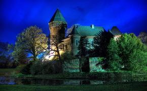 Castles, (Fortress), Germany, krefeld - burg linn, night