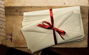letters, Envelopes, ribbon, ink, paper, old, Vintage