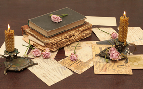Cosecha, Libros, viejo, Flores, Rosa, Velas, sostenedores de la vela, cartas, Mercancas, papel, mesa