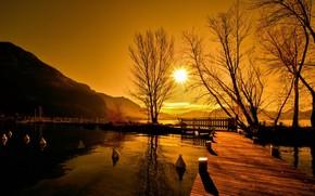 закат, мост, озеро, пейзаж