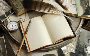 Cosecha, retro, cuaderno, Libros, Mercancas, papel, Fotos, ver, manejar, mesa