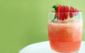 glass, glass, drink, Toothpick, strawberry, berry, macro