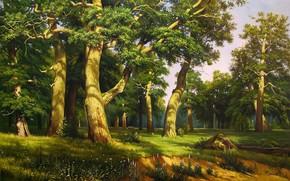 pittura, immagine, foresta