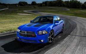四门轿车, 蓝色, 闪避, 追踪, Dodge