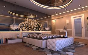 interior, diseo, Estilo, Estambul, habitacin, dormitorio, cama, iluminacin, Libros, espejo