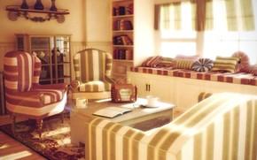 interior, design, style, room, furniture, cup, Books, radio, glasses, Vintage