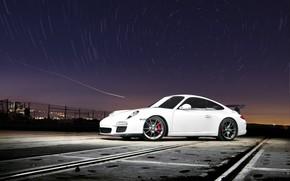 Porsche, white, sky, Star, porsche