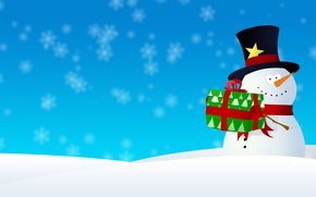 New Year, graphics, Christmas, snowman, snow, Snowflakes, New Year