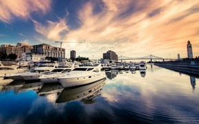 city, Port, river, water, Trays, boats, home, sky