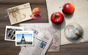 Стол, письма, фото, листья, карта, атлас, яблоко, ткань