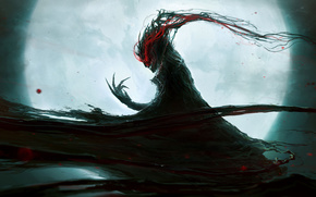 moon, monster, claws, blood, daemon