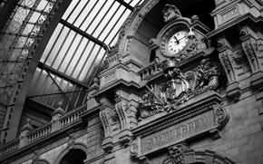 часы, станция, черно-белое