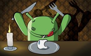 dinner, candle, knife, fork, plate, Art, Hi-Tech