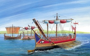 Roman, trireme, primary, type, combat, ship, Roman, Empire, Three, series, cheerful, located, three, levels, rate, trireme, reached, primary, Arms, served, bronze, ram, drawing.